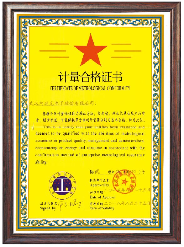 Certificate of Metrological Conformity